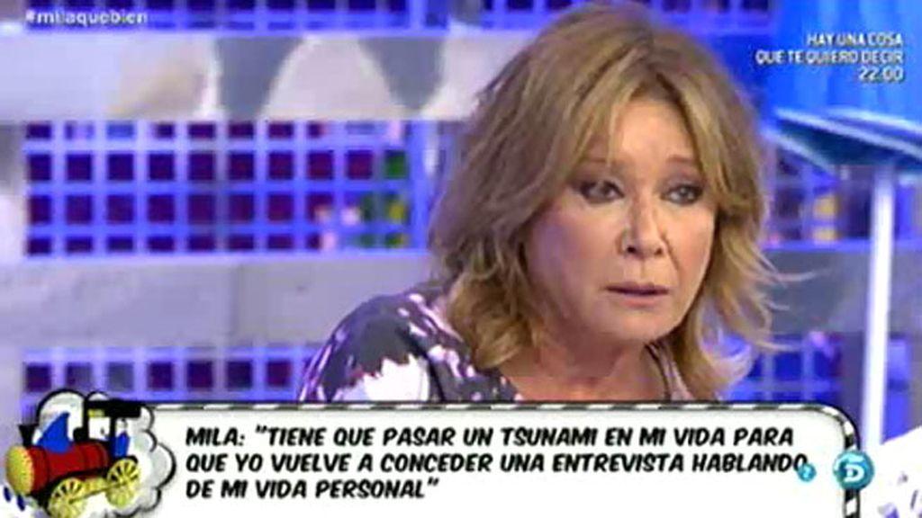 """Mila Ximénez: """"Tiene que pasar un tsunami para que yo vuelva a dar una entrevista"""""""