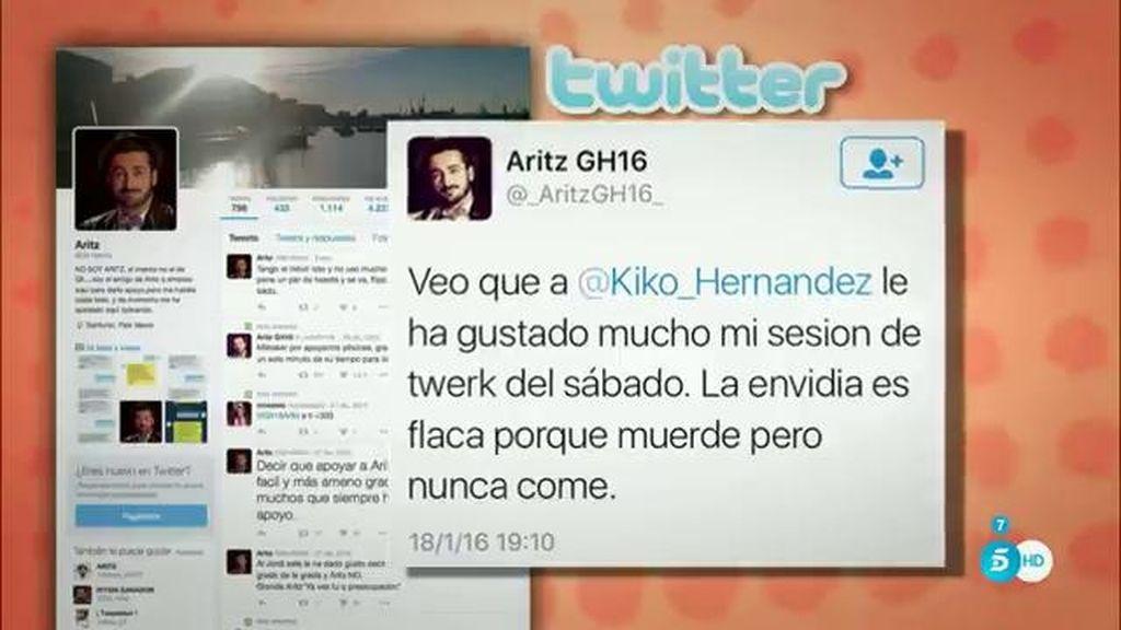"""Aritz: """"Veo que a Kiko Hernández le ha gustado mucho mi sesión de twerk"""""""