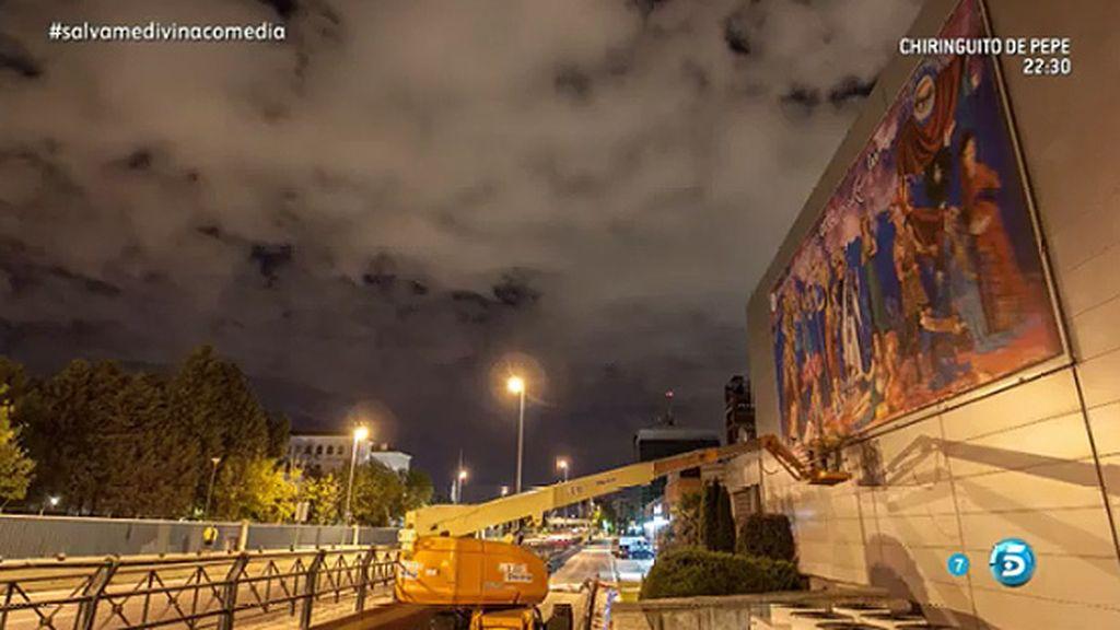'El Olimpo de Sálvame' toma la fachada de uno de los edificios de Mediaset España