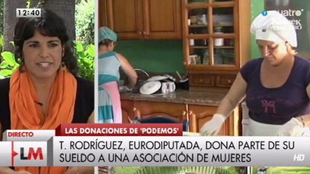 Teresa Rodríguez (Podemos) dona parte de su sueldo a una asociación de mujeres