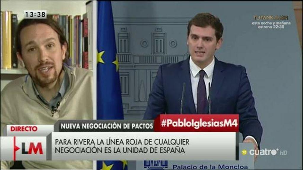 """Iglesias, de Rivera: """"Sería razonable que si le mando un mensaje, al menos contestara"""""""