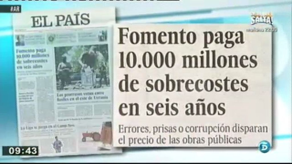 Fomento ha pagado 10.000 millones de sobrecostes en seis años