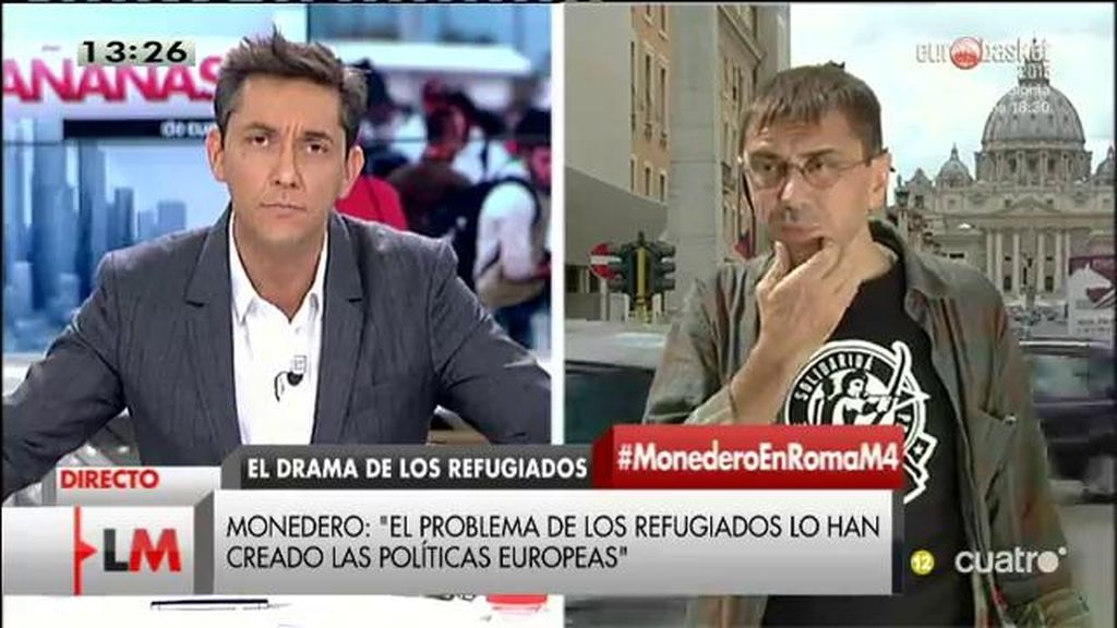 """Juan Carlos Monedero: """"Los refugiados lo son por culpa de políticas europeas que generaron deterioro de los países"""""""