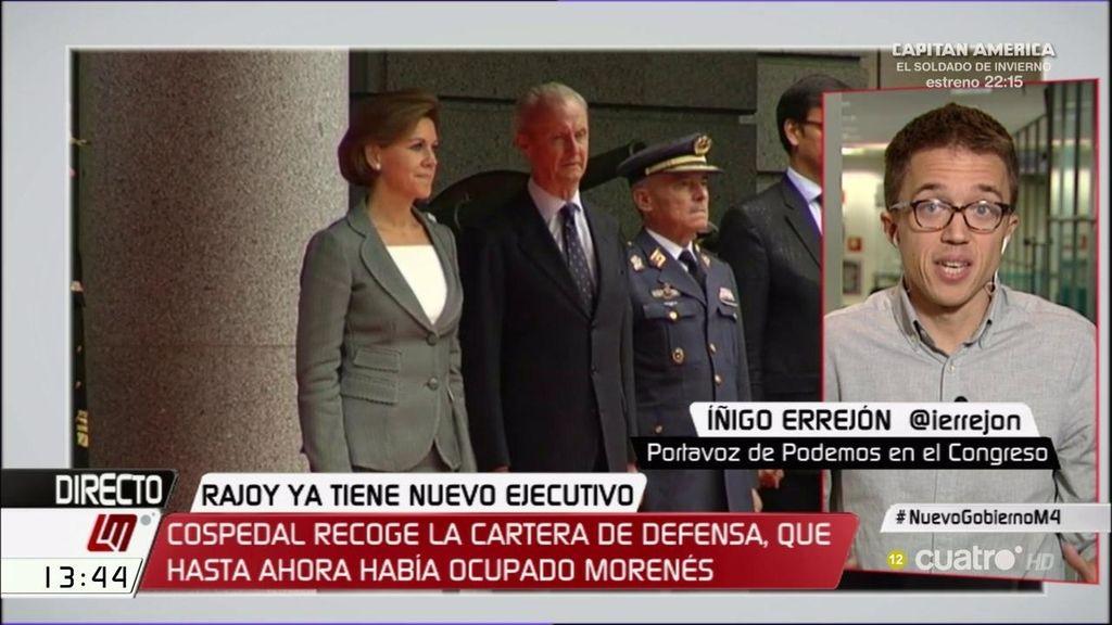 "Íñigo Errejón: ""En Podemos no le vamos a dar los 100 días de cortesía a Rajoy"""