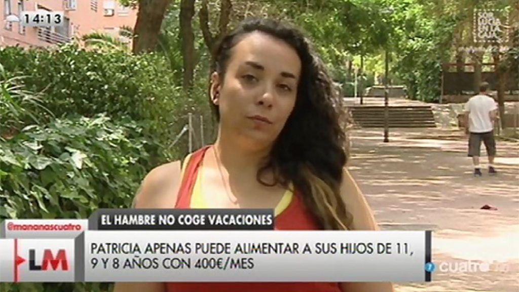 Patricia, madre de tres hijos, subsiste con 400 euros al mes