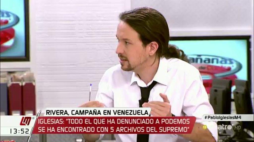 """Pablo Iglesias: """"Quienes han presentado denuncia contra nosotros se han encontrado con cinco archivos del Supremo"""""""