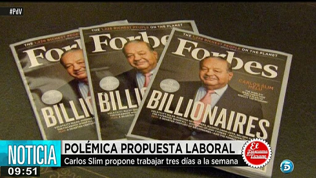 Carlos Slim propone trabajar tres días a la semana