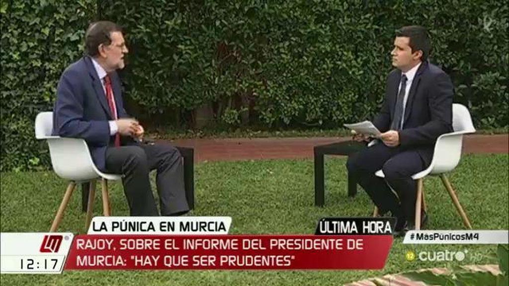 """Rajoy, sobre Pedro Antonio Sánchez: """"Hay que ser prudentes"""""""