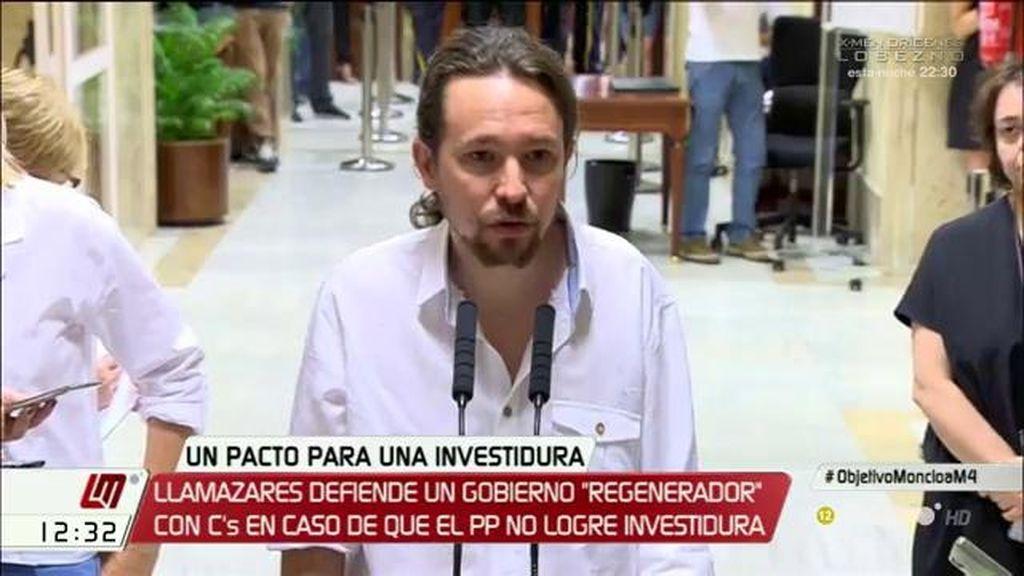 """Iglesias cree que los objetivos de C's son que Podemos """"no pinte nada"""" y lograr """"una especie de alcahueta política"""" de PP y PSOE"""