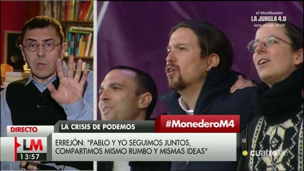 """Juan Carlos Monedero: """"Les molesta que un Podemos fuerte cuestione ese tipo de gran coalición encubierta"""""""