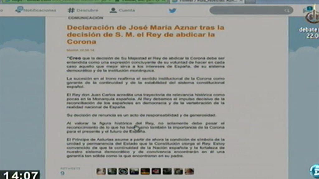 """José María Aznar, sobre la abdicación del Rey: """"Su decisión de renuncia es un acto de responsabilidad y generosidad"""""""