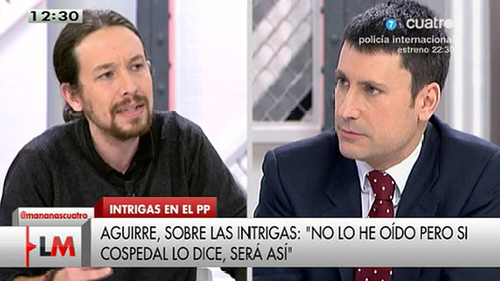"""Pablo Iglesias, a José Luis Pérez: """"Me estás poniendo la zancadilla antes de hablar"""""""