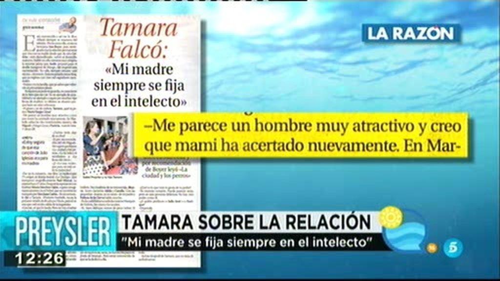 """Tamara Falcó: """"Mi madre siempre se fija en el intelecto y ha acertado nuevamente"""""""
