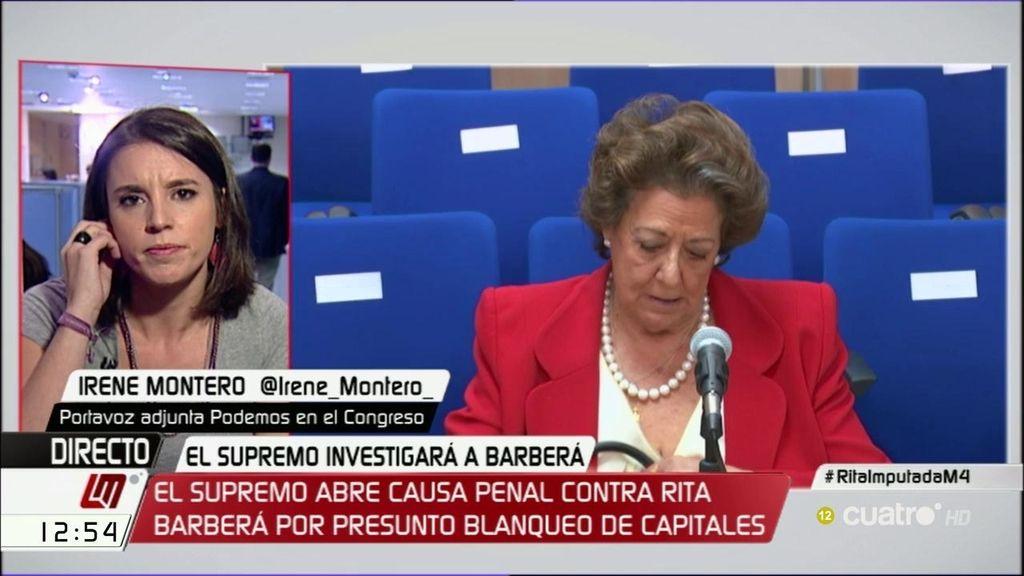 """Irene Montero: """"Que a nivel político represente a los ciudadanos una persona como Barberá ya no lo aguanta nadie"""""""