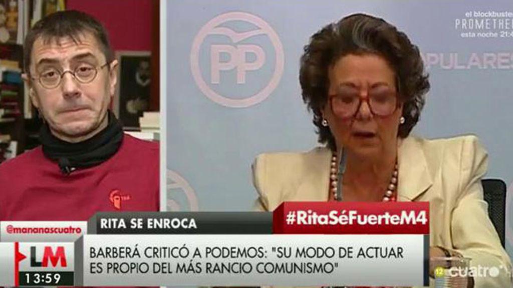 """Monedero: """"Lo que tiene Rita Barberá es una cara dura que no se sostiene"""""""
