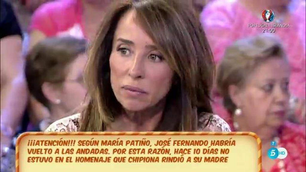 """María Patiño: """"José Fernando ha vuelto a las andadas, la familia está muy preocupada"""""""