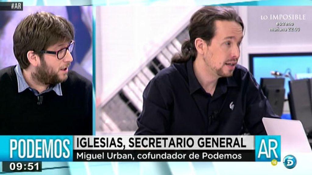 """Miguel Urban, cofundador de Podemos: """"Si no cumplimos el programa, se va a poder revocar al gobierno"""""""