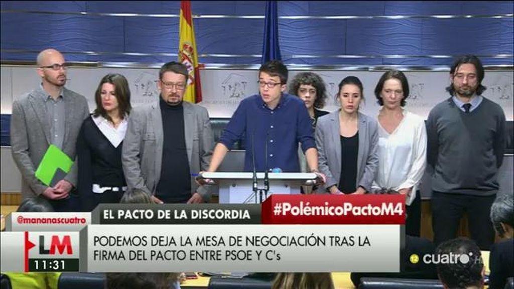 """Errejón, del acuerdo de PSOE y Ciudadanos: """"Está redactado pensando en el PP y no en Podemos"""""""