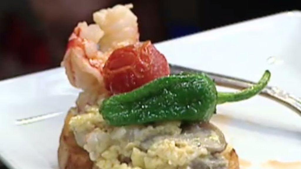 """La receta de Restaurante Civera: """"Tosta de setas de temporada y frutos del mar"""""""