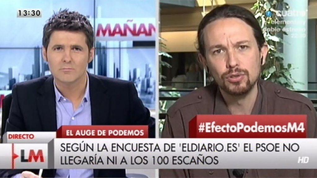 """P. Iglesias, sobre P. Sánchez: """"Está muy bien que los socialistas hayan hecho algo coherente con lo que vienen diciendo"""""""