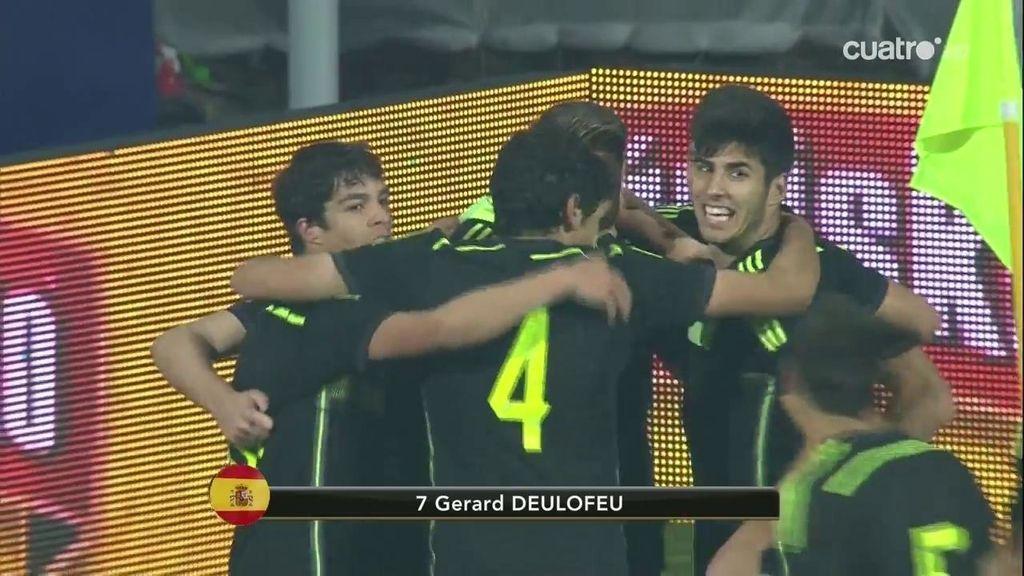 ¡Deulofeu aprovecha un error monumental del portero y marca el tercer gol de España!