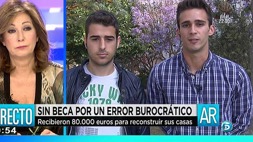 Alejandro y Mario se han quedado sin beca porque recibieron una indeminzación tras el terremoto de Lorca