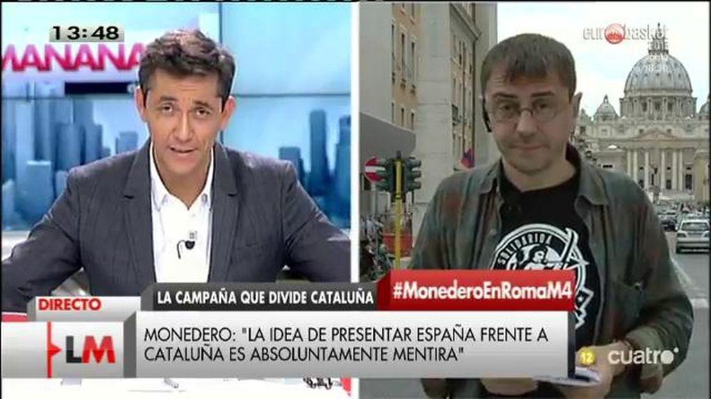 """Juan Carlos Monedero: """"La idea de presentar las elecciones como España frente a Cataluña es mentira"""""""