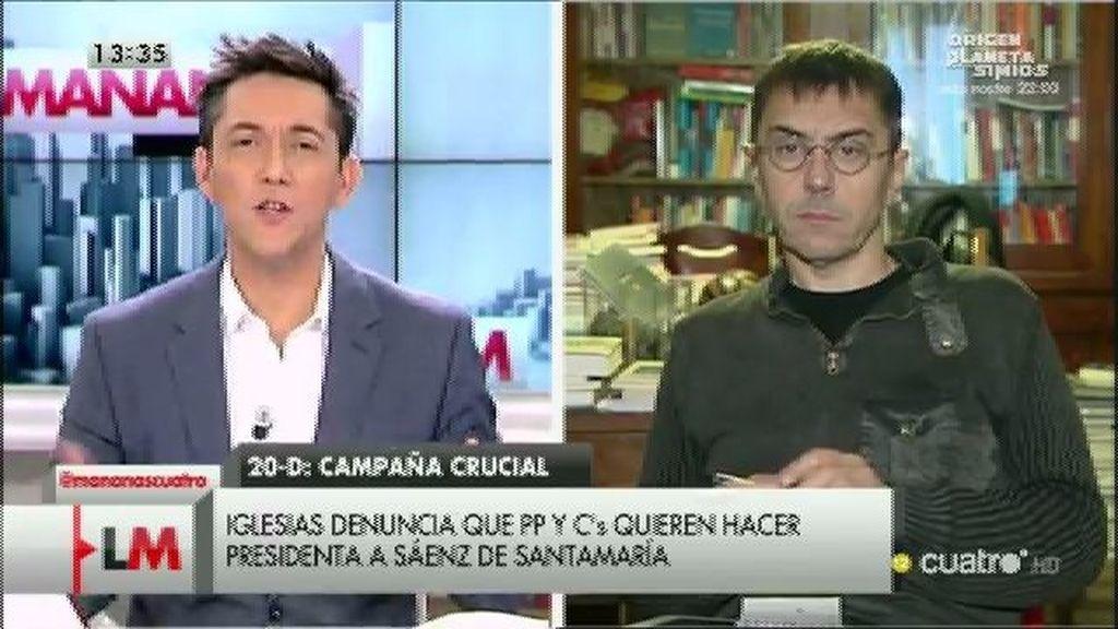 """Monedero: """"Rajoy quiere seguir mandando pero hay sectores que 'le hacen la cama'"""""""