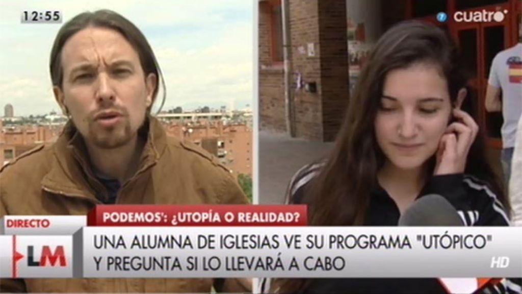 """Una alumna de Iglesias ve su programa """"utópico"""" y pregunta si lo llevará a cabo"""
