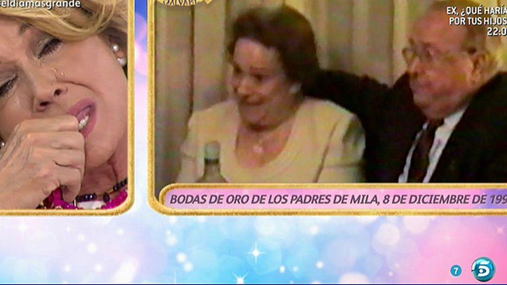Mila Ximénez llora viendo a un vídeo de las bodas de oro de sus padres