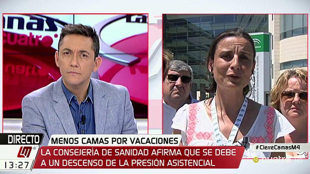 """Eva Martínez: """"Hay pacientes que vienen de urgencia y tienen que esperar 72 horas"""""""