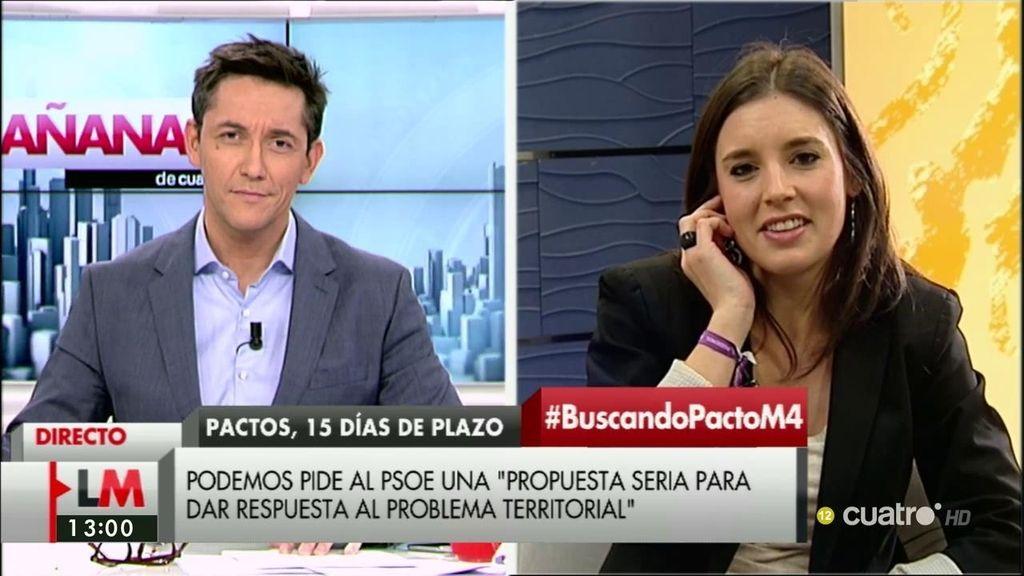 """I. Montero: """"Diría al PSOE que no hay que tener miedo a hablar de los equipos y que, por favor, renuncien a pactar con las derechas"""""""