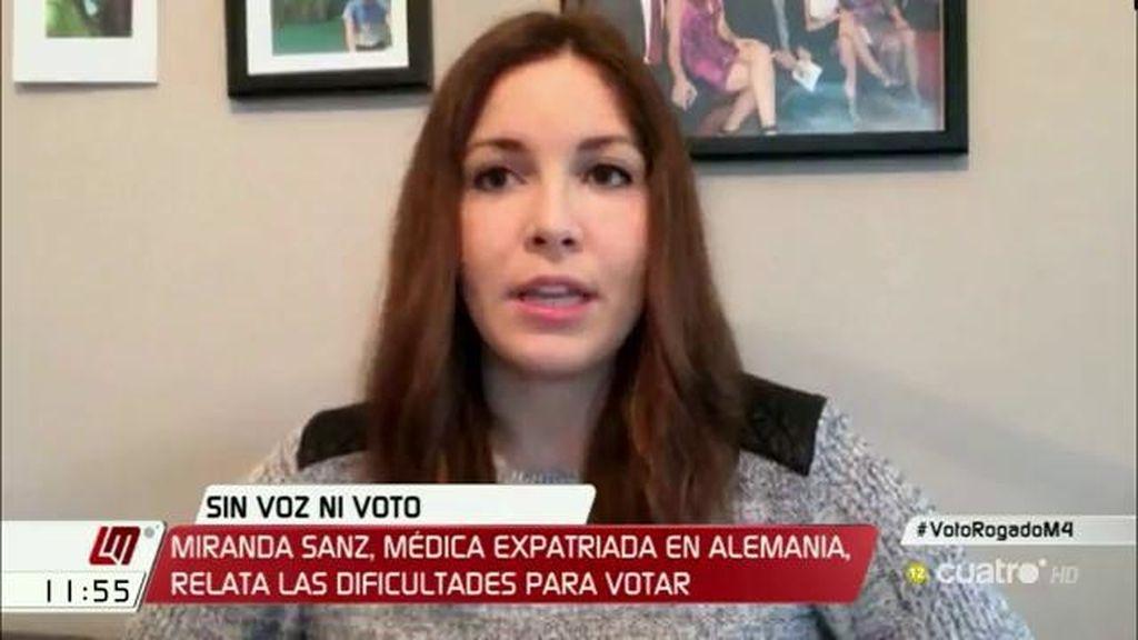 Miranda Sanz, médica española en Alemania, relata las dificultades que tiene para votar