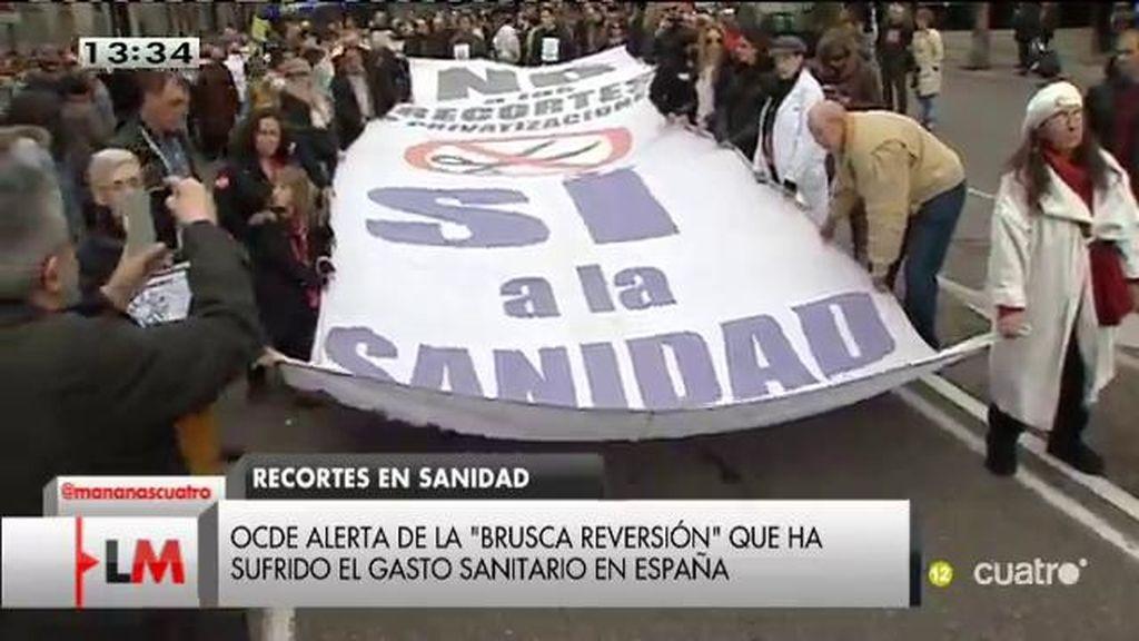 """La OCDE alerta de la """"brusca reversión"""" que ha sufrido el gasto sanitario en España"""