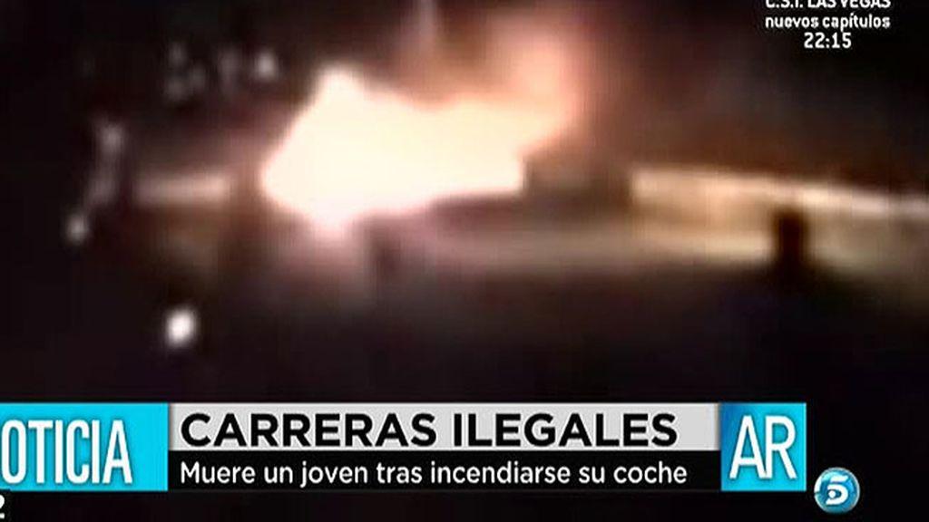 Muere un conductor tras incendiarse su coche en una carrera ilegal