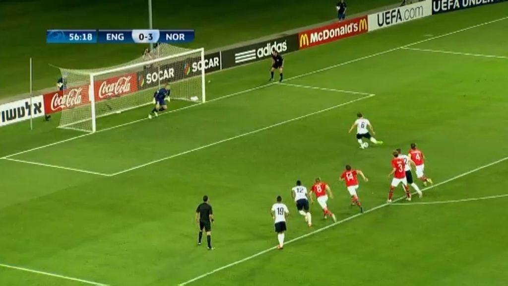 Gol: Inglaterra 1-3 Noruega (min.57)