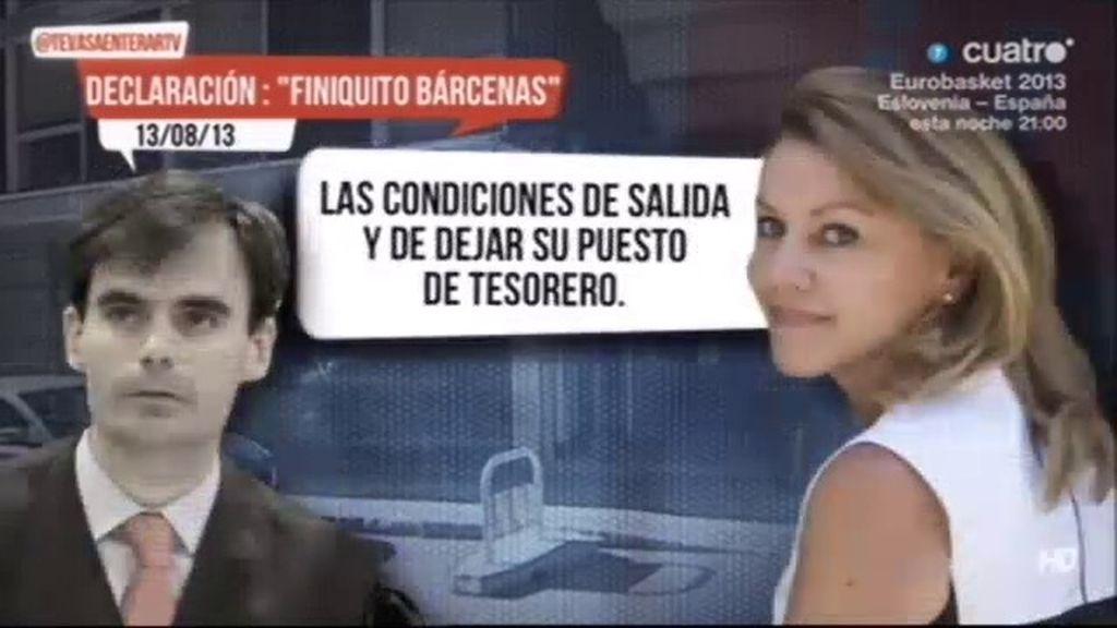 Cospedal afirma al juez que Rajoy le contó los términos de su reunión con Bárcenas
