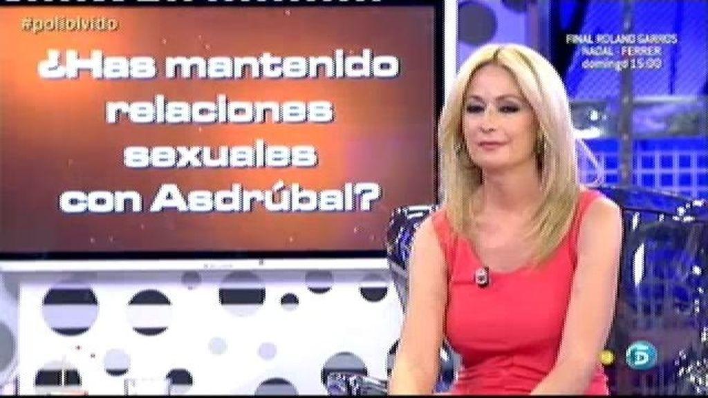 Olvido Hormigos mantuvo relaciones sexuales con Asdrúbal
