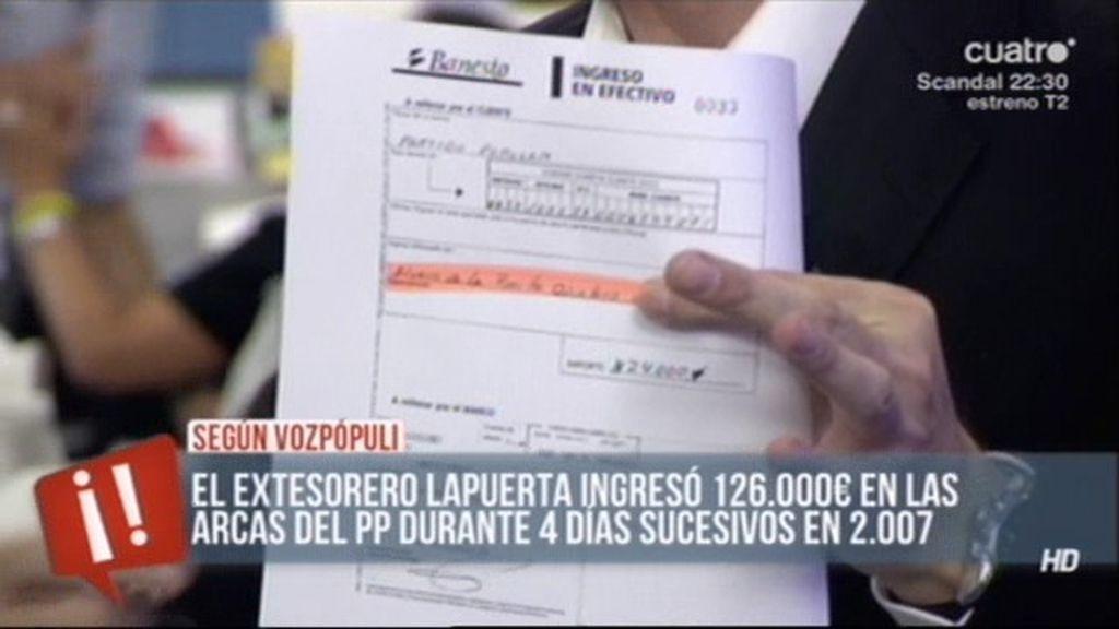 El PP fraccionaba las donaciones