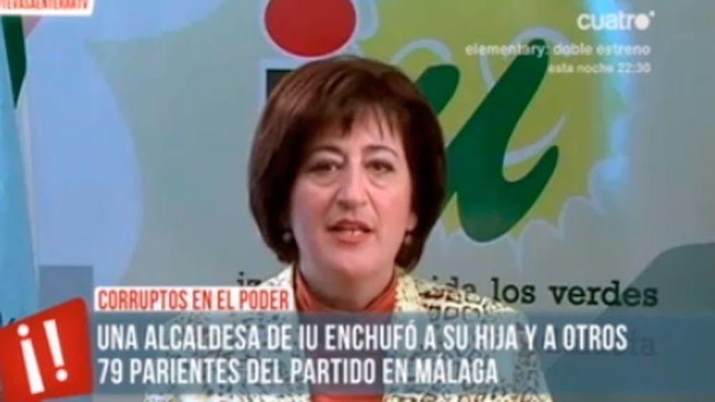 Una alcaldesa de IU, denunciada desde 2011 por enchufar a su hija y a 79 parientes