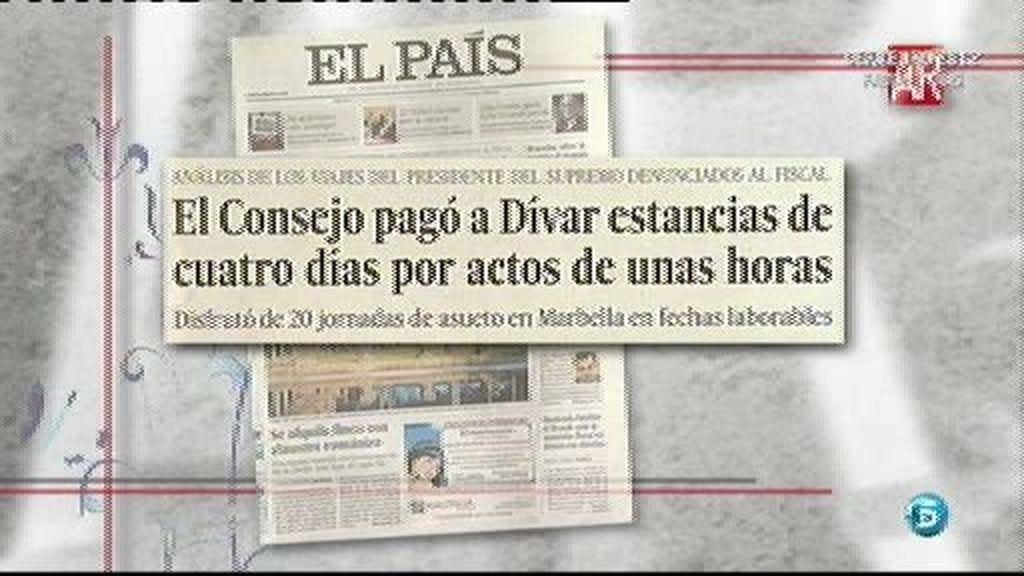 El Consejo pagó a Dívar estancias de cuatro días por actos de unas horas, según 'El País'