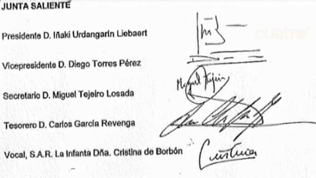La firma de la Infanta Cristina aparece en el acta de una Junta de Nóos