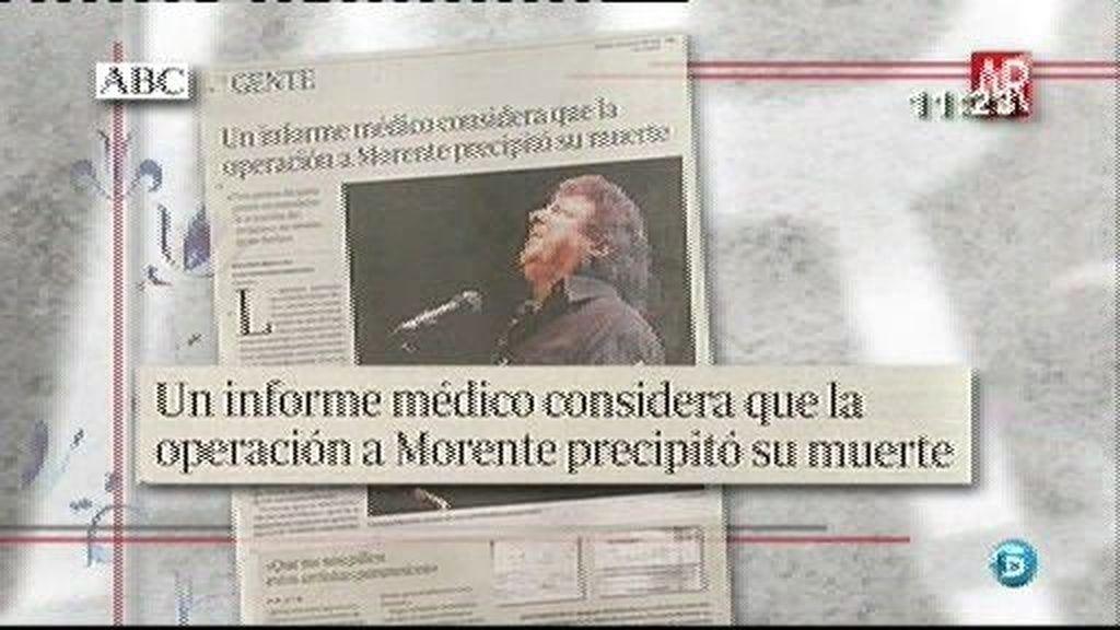 Un informe médico considera que la cirugía a la que se sometió a Morente precipitó su muerte