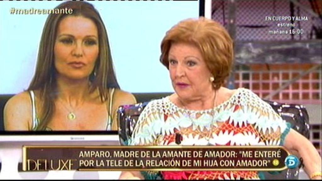 """Amparo, madre de la amante de Amador: """"Me enteré por la tele de la relación de mi hija"""""""