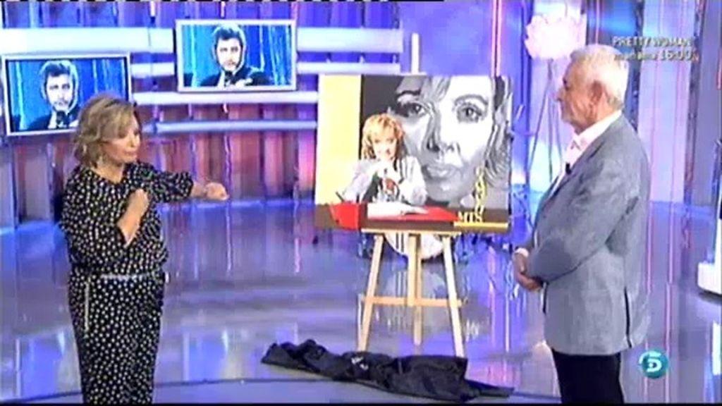 Juan Pardo regala un cuadro a Mª Teresa Campos