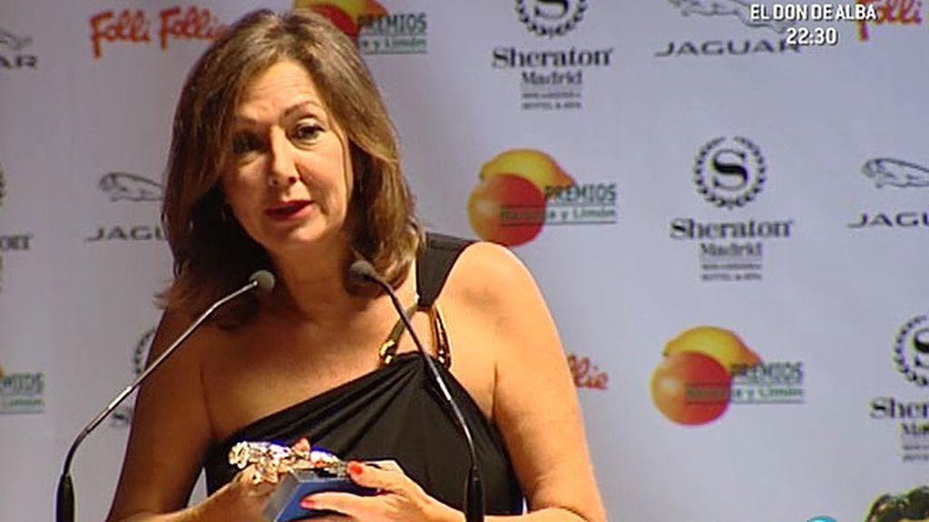 Ana Rosa, premiada con el 'Personaje Jaguar del año' en los 'Premios Naranja y Limón'