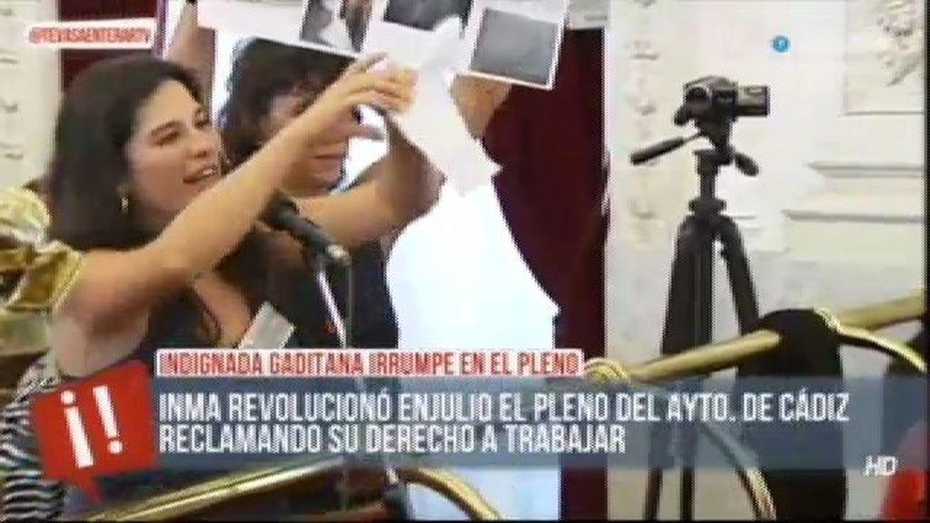 Inma Michinina vuelve a indignarse en el pleno de Cádiz