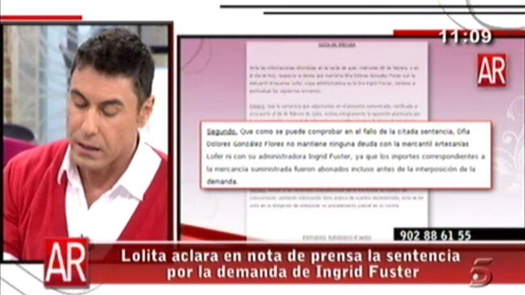 Lolita demanda a Ingrid Fuster
