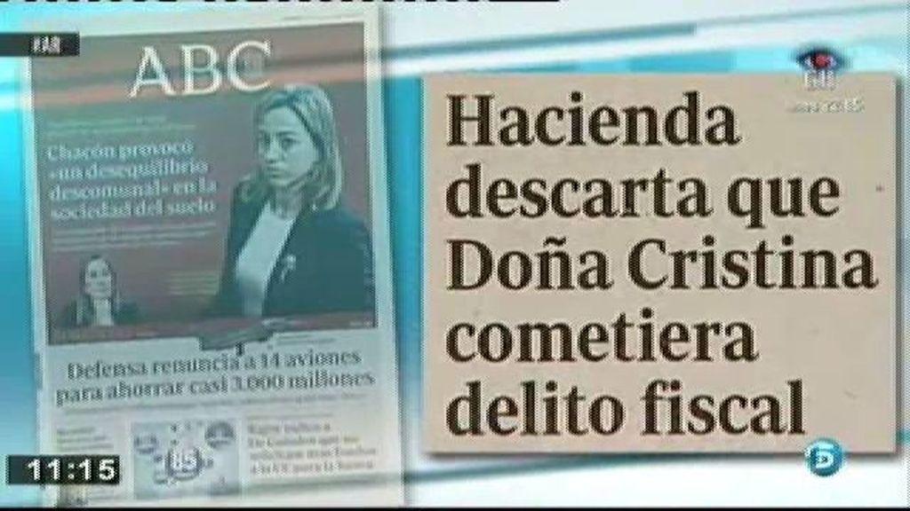 Según la Agencia Tributaria, la Infanta no habría cometido delito fiscal