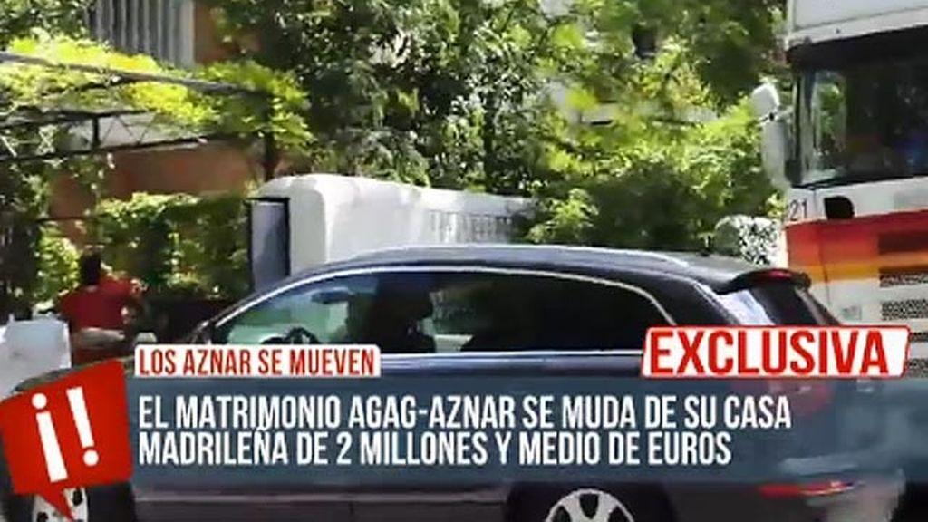 El matrimonio Agag-Aznar se muda de su casa de Madrid
